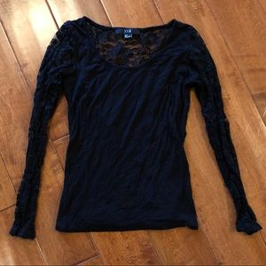 Forever 21 Black Lace Sheer Long Sleeve Top